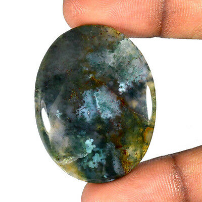 MOSS AGATE CABOCHON 55.23 Cts NATURAL OVAL LOOSE GEMSTONE 85-04