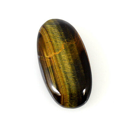 TIGER'S EYE CABOCHON 30.21 Cts NATURAL BROWN OVAL LOOSE GEMSTONE 84-43