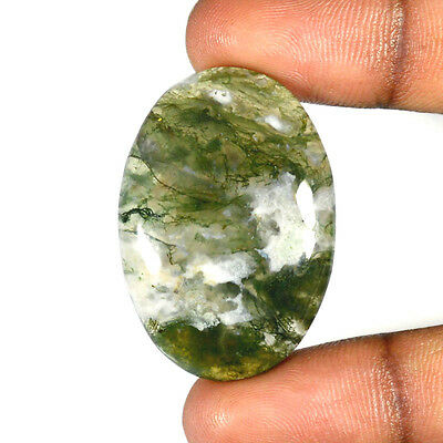 MOSS AGATE CABOCHON 51.20 Cts NATURAL OVAL GEMSTONE 84-36