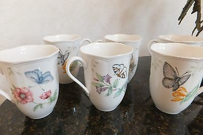 LENOX BUTTERFLY MEADOW 10oz. Mug, Set of 6 with Scalloped Edge