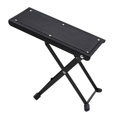 Folding Metal Guitar Foot Rest Stage Anti-slip Stand for Guitarist Black