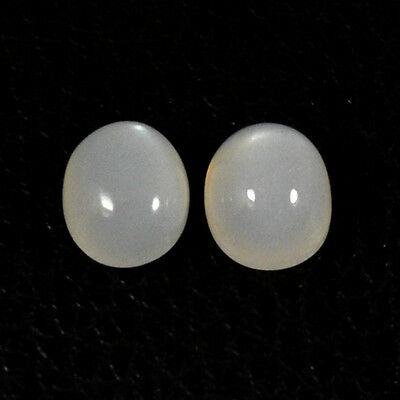 8.60Cts NATURAL BAEUTY WHITE MOONSTONE OVAL PAIR CABOCHON LOOSE GEMSTONES 98-21