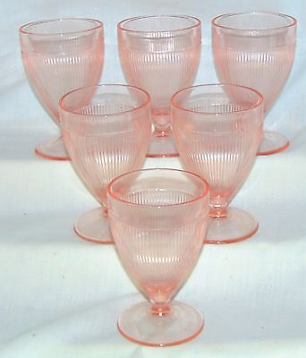 "6 Jeannette HOMESPUN PINK *4"" - 5 oz FOOTED JUICE TUMBLERS*"