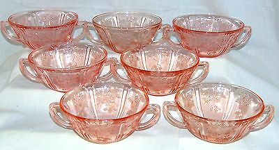 """7 Federal SHARON/CABBAGE ROSE PINK *5"""" CREAM SOUP BOWLS*"""