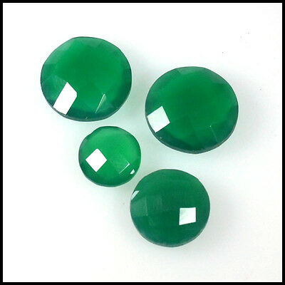 ONYX CHACKER CUT 28.00Ct NATURAL BEAUTY GREEN ROUND 4Pc LOOSE GEMSTONES  127-43
