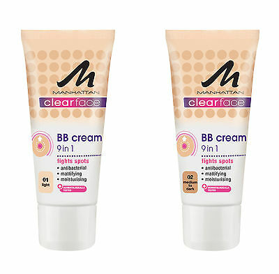 BB CREAM 9 in 1 Antibacterial by Manhattan ClearFace, mattifying,moisturising