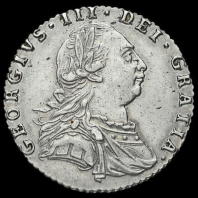 1787 George III Early Milled Silver Sixpence, Hearts, A/EF