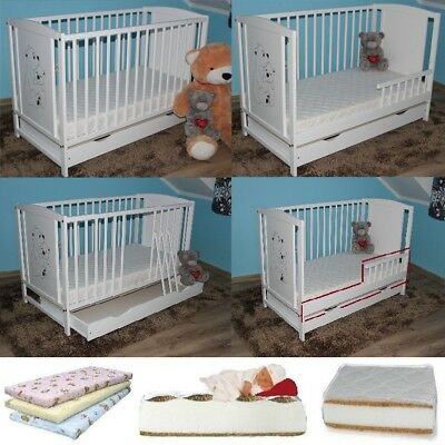 TEDDY BEARS BABY COT 120x60 + BOTTOM DRAWER + OPTIONAL MATTRESS AND BARRIER