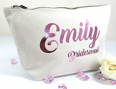 Personalised Wedding Bridesmaid Make Up/Accessory Bag ANY Name Gift Present