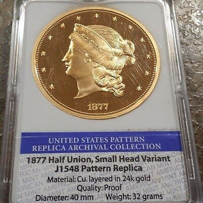 1877 $50 Pattern Half Union Medal Cu layered in 24K Gold Limited Edition