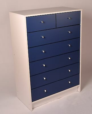 Madison 5+2 Chest of Drawers in White and Blue Effect