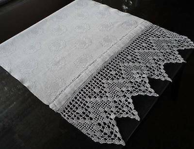 Antique Large Damask Splasher Bath Towel Runner Laurel Leaf Filet Crochet