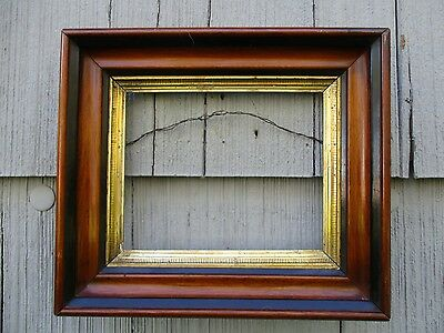 Antique 19thC Eastlake Walnut Wood Picture Frame with Glass fits 7-1/4 x 9