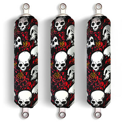 Red Skull Shock Covers Polaris Outlaw 90 Sportsman 90 Racing (Set of 3) NEW