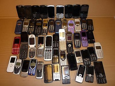 Job Lot 50 Mobile Phones Sony Htc Motorola Blackberry Philips Nokia Samsung Doro