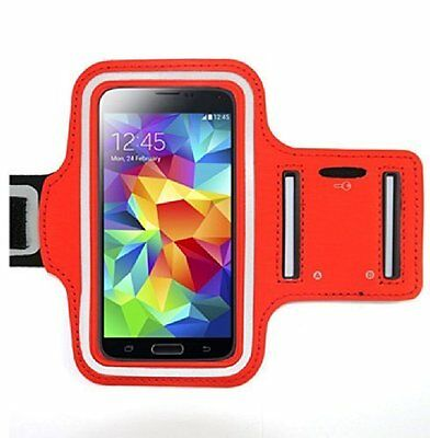 """LG """"Stylo 3"""" Red Neoprene Adjustable Sports Arm Band Cell Phone Case"""