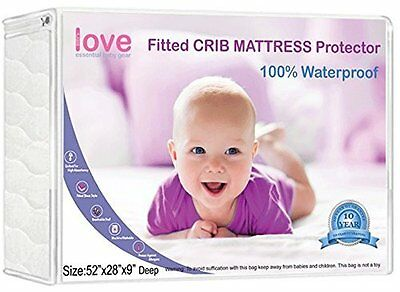 Crib Mattress Pad Waterproof Fitted - Soft Quilted Hypoallergenic Protection - a