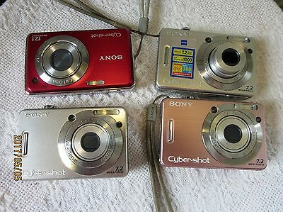 For Parts Only...bag Of 4 Sony Cybershot 7.2 & 12.1 Digital Cameras Sans Memory