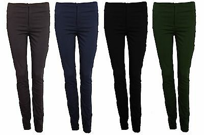 Ladies Skinny Slim Fitted Treggings Trousers Work Casual Stretch Bengaline 8-18