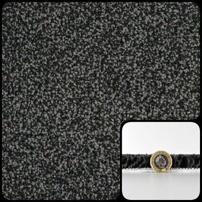 Super SOFT 16-17mm THICK BLACK GREY Saxony Carpet £9.99sqm RRP £15.99sqm