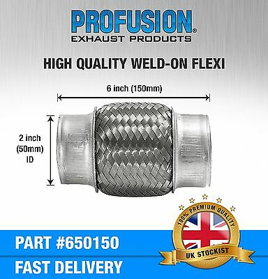 """Weld On 2"""" X 6"""" inch Exhaust Flexible Joint Repair Flexi Pipe tube Flex"""