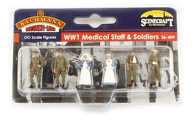 Bachmann Scenecraft Oo Scale 36-409 Ww1 Medical Staff & Soldiers
