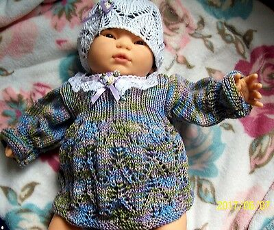 Newborn Baby Girls Hand Knitted Outfit Reborn Dolls Clothes 0-3 mth 100% Cotton