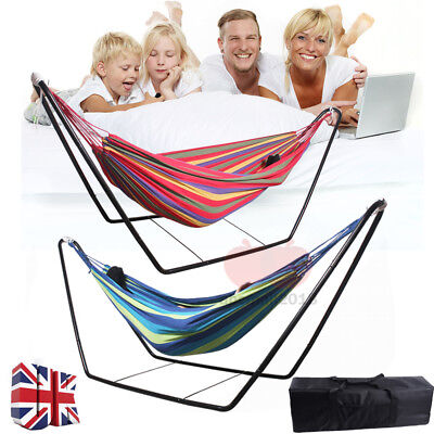 Portable Folding Hammock Steel Stand Camping Outdoor Swing Chair Bed Blue/Red UK