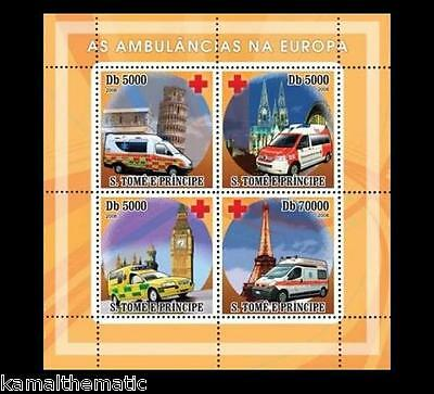 S. Tome MNH 4v SS, Ambulance, Europe, Red Cross, Eiffel Tower, Pizza, Medical Tr