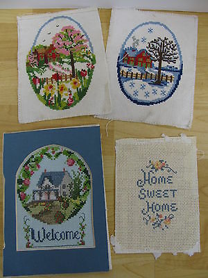 4 Finished Cross Stitch Seasons Winter Spring Cottage Welcome Home Sweet Home