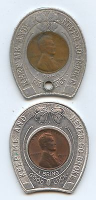 Pair of Good Luck Tokens (#7622) Encased Pennies 1946 Oyster & Cocktail Bar