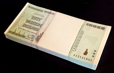 😊 ZIMBABWE 100 * $50 Trillion banknote UNCIRCULATED. Wholesale (100 pieces)