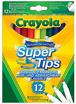 *BEST Marker Pens Crayola Supertips Washable Colour Kids Childrens Pen x12 Pack