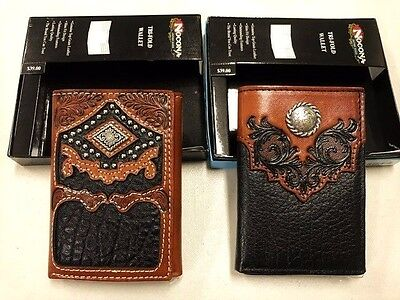 2 Fancy Mens Wallets-Nocona Western Leather Trifold Brown Black New