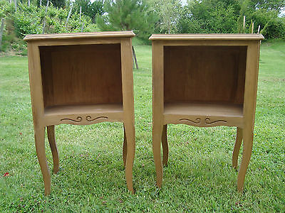 Rare Pair French Wooden Bedside Cabinets Tables Ideal Painting Project