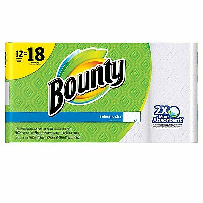Bounty Select-A-Size Paper Towels, White, Giant Roll - 12 pk Fast Shipping New