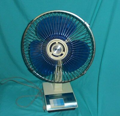 Vintage LASKO 12 Inch Oscillating Table Top Fan BLUE Blades 3 Speed WORKS