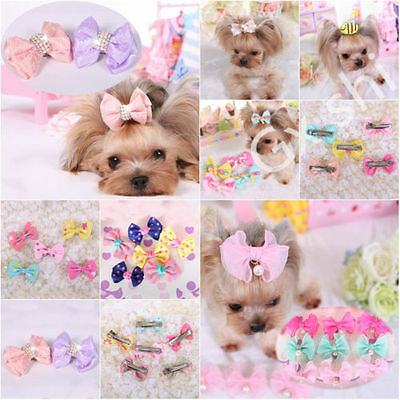 1/10Pcs Cute Dog Cat Puppy Hair Clips Hair Bow Tie Bowknot Hairpin Pet Grooming