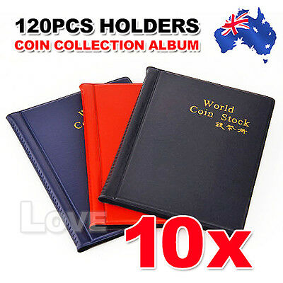 10x 120 Coin Holders Collecting Collection Storage Money Pockets Penny Album
