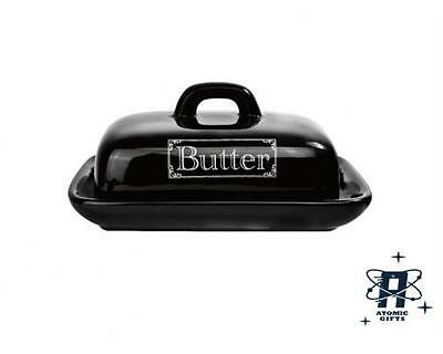 Vintage Retro Styled Black Kitchen Butter Dish New In Box