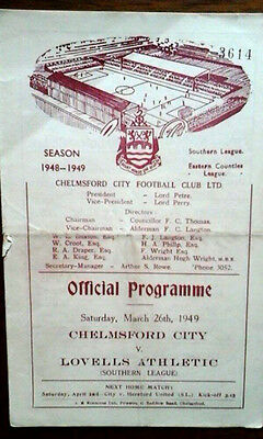 Chelmsford City V Lovells Athletic 26/3/1949 Southern League