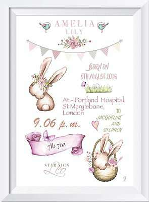 Personalised baby child name print gift picture nursery bunny wallart girl new