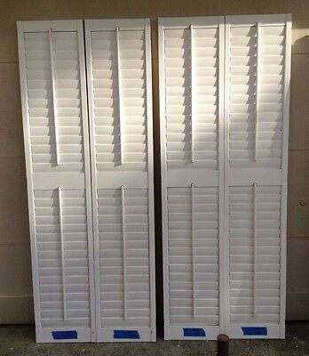 "72 1/4"" T X 28"" W VTG Colonial Wood Interior Louver Plantation Window Shutters"