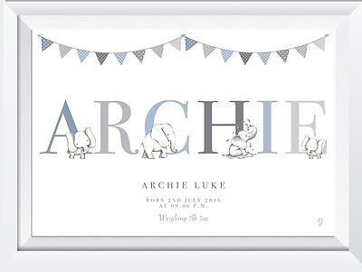 Personalised baby name elephant LASER SW CRYSTAL PRINT gift christening