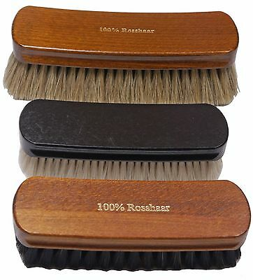 shoe brush SET of 3 brushes goat & horse hair - Made in Germany