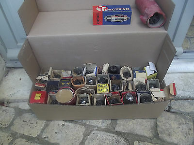 RADIO TSF// RARE LOT TUBES LAMPES 47 PCS + divers !!!