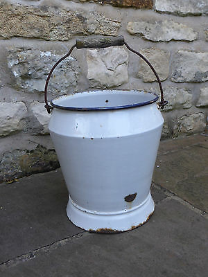 Vintage  White Enamel Bucket With Blue Rim. Make a lovely Planter. Watertight.