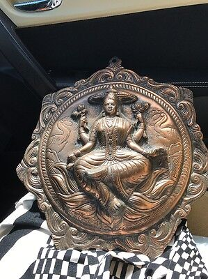 Large Traditional Indian God Ritual Copper Wall Plaque