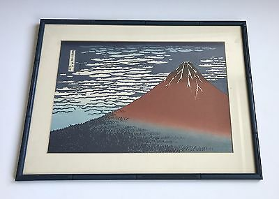 A Framed Woodblock Print By Hokusai Views Mount Fuji Fine Wind Clear Morning