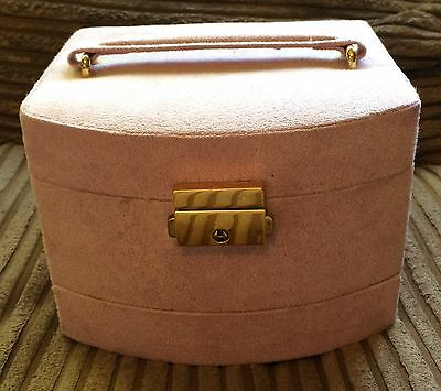 Pale Pink Suede Lidded Jewellery Box With Handle Clip/Mirror/Drawers/Earrings